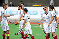 MELBOURNE -  Vreugde bij Duitsland na een doelpunt tijdens de wedstrijd tussen de mannen van Duitsland en Nieuw-Zeeland bij de Champions Trophy hockey in Melbourne.  ANP KOEN SUYK