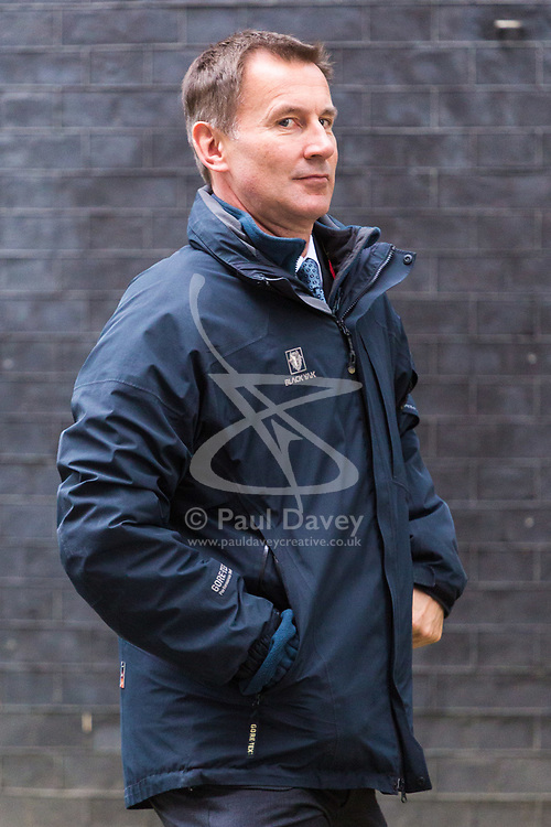 London, October 31 2017. Health Secretary Jeremy Hunt leaves the weekly UK cabinet meeting at Downing Street. © Paul Davey