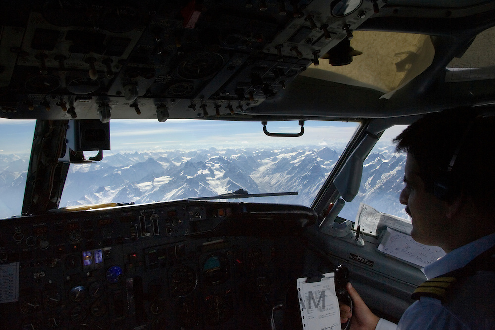 Peaks of Karokoram Mountains from 737 jet aircraft cockpit, approaching Skardu Valley, North Pakistan