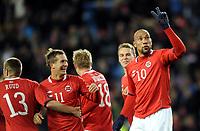 Fotball<br /> Euro 2012 Qualification Match<br /> EM-kvalifisering<br /> Norge v Kypros<br /> Norway v Cyprus<br /> 11.10.2011<br /> Foto: Morten Olsen, Digitalsport<br /> <br /> Morten Gamst Pedersen og John Carew - Norge<br /> 2:0 til Norge