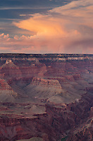 Evening storm over the North Rim of Grand Canyon seen from Mather Point, Grand Canyon National Park
