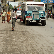 Bus at one of the avenues of Mandalay