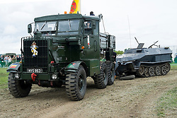 Scammell Pioner Dooley Dragster hooked up to a German Sd.Kfz 251 Auf C halftrack that lost its front wheel during a vehicle dispaly at the Yorkshire Wartime Experience on Sunday (05 June) <br /> <br /> 05 July 2015<br />  Image © Paul David Drabble <br />  www.pauldaviddrabble.co.uk