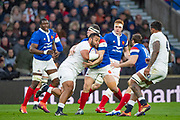 Twickenham, United Kingdom. 7th February, Billy VUNIPOLA, gathered in By france's Guilhem GUIRADO,  England vs France, 2019 Guinness Six Nations Rugby Match   played at  the  RFU Stadium, Twickenham, England, <br /> © PeterSPURRIER: Intersport Images