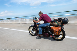 Mike Carson riding his 1930 Harley-Davidson VL in the Cross Country Chase motorcycle endurance run from Sault Sainte Marie, MI to Key West, FL. (for vintage bikes from 1930-1948). Stage-10 covered 110 miles from Miami to the finish in Key West, FL USA. Sunday, September 15, 2019. Photography ©2019 Michael Lichter.