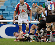 """Twickenham, GREAT BRITAIN, Bristol's, Matt SALTER, holds his wrist, after injuring his shoulder in a the tackle, during the Guinness Premieship match, NEC Harlequins vs Bristol Rugby, at the Twickenham Stoop Stadium, England, on Sat 24.02.2007 [""""Photo, Peter Spurrier/Intersport-images""""]"""