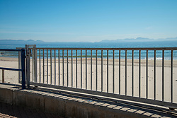 A closed and empty Bikini Beach, in Gordon's Bay, Western Cape, South Africa, on Saturday, April 18, 2020. The South African government has shut down the country, in response to Coronavirus, asking everyone but essential workers to stay home. PHOTO: EVA-LOTTA JANSSON<br /> [This is one is a series of landscapes shot in the Western Cape, South Africa, during the national ockdown in response to the Coronavirus.]