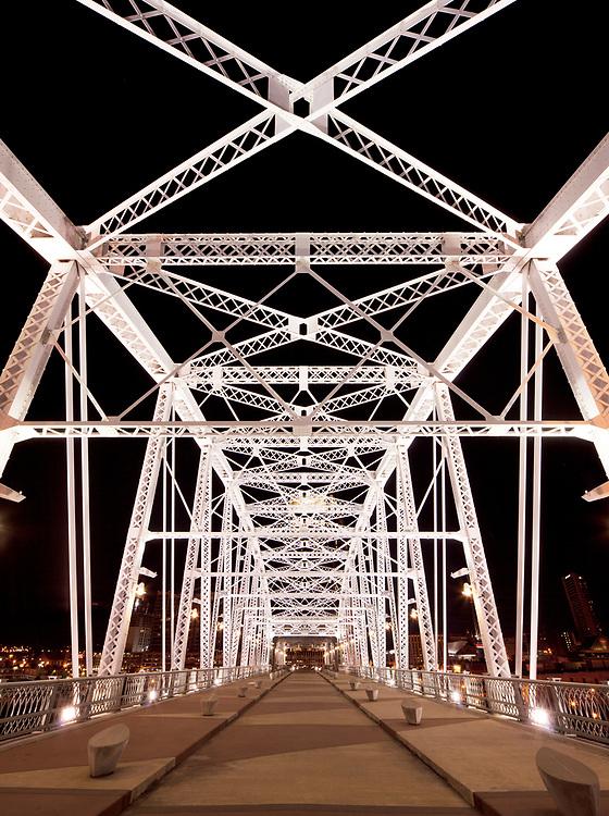 Shelby Street Pedestrian Bridge at night, Nashville Riverfront