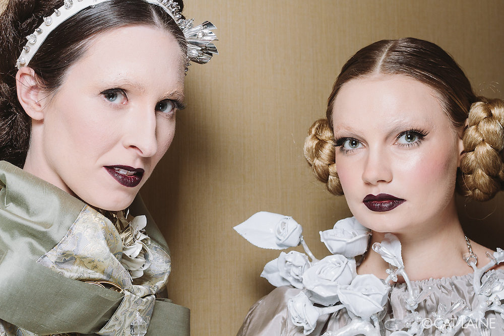 PROVIDENCE, RI - FEB 20: Brit K Walsh and Liv Guiney backstage prior to the Jonathan Joseph Peters show during StyleWeek NorthEast on February 20, 2015 in Providence, Rhode Island. (Photo by Cat Laine)