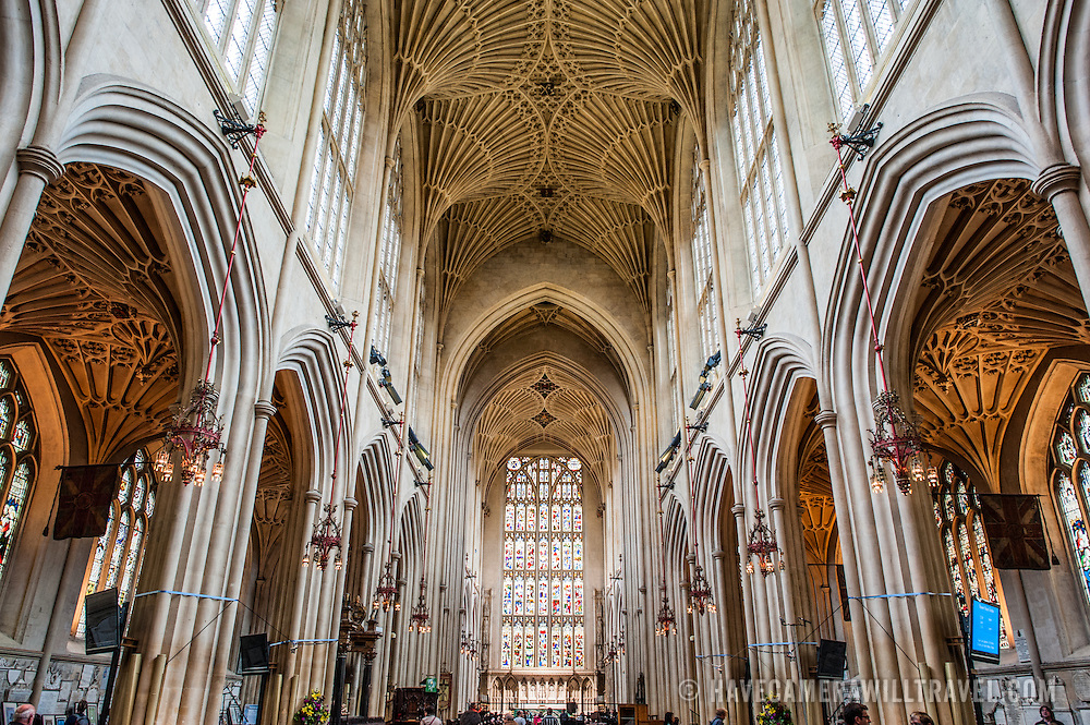 A view looking down the nave of Bath Abbey towards the altar. Bath Abbey (formally the Abbey Church of Saint Peter and Saint Paul) is an Anglican cathedral in Bath, Somerset, England. It was founded in the 7th century and rebuilt in the 12th and 16th centuries.