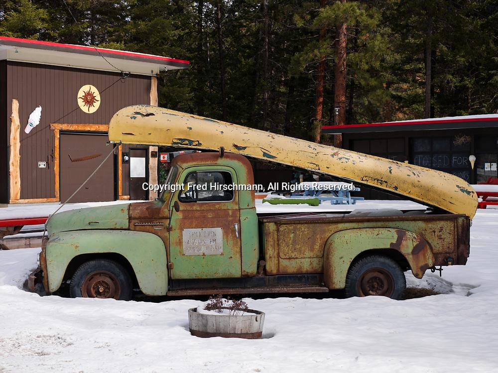 Canoe on International  Harvester R-110 Series Pickup Truck, Beaverdell, British Columbia, Canada.