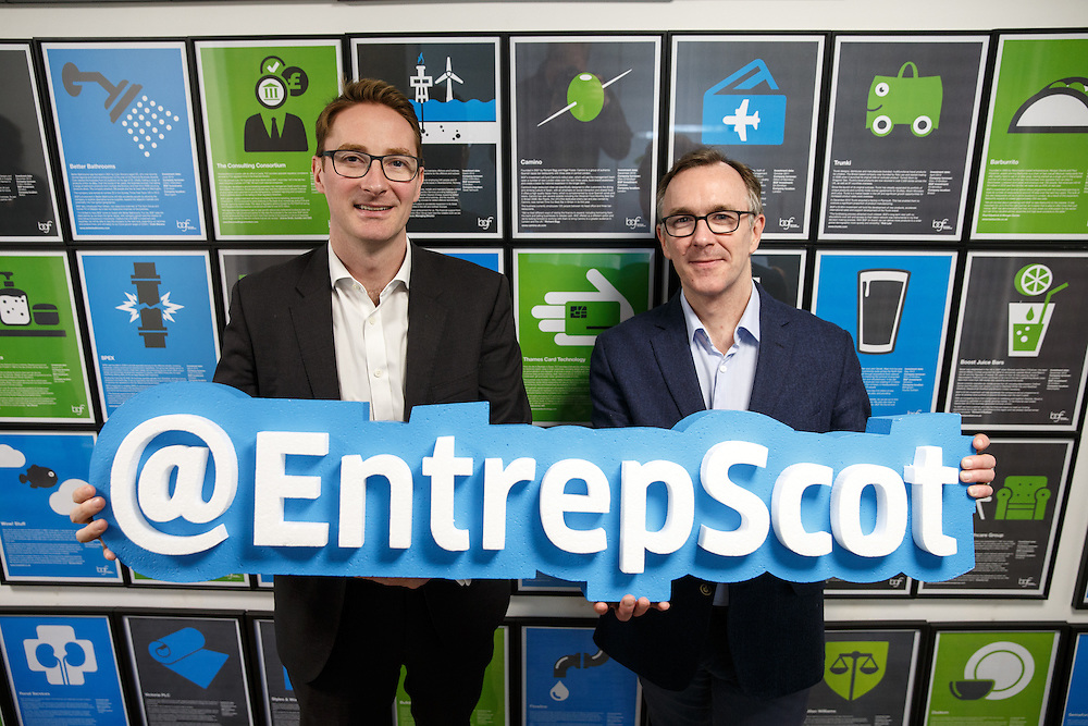 BGF and Entrepreneurial Scotland. L to R : Patrick Graham and Sandy Kennedy. Picture Robert Perry 1st March 2016<br /> <br /> Please credit photo to Robert Perry<br /> <br /> Image is free to use in connection with the promotion of the above company or organisation. 'Permissions for ALL other uses need to be sought and payment make be required.<br /> <br /> <br /> Note to Editors:  This image is free to be used editorially in the promotion of the above company or organisation.  Without prejudice ALL other licences without prior consent will be deemed a breach of copyright under the 1988. Copyright Design and Patents Act  and will be subject to payment or legal action, where appropriate.<br /> www.robertperry.co.uk<br /> NB -This image is not to be distributed without the prior consent of the copyright holder.<br /> in using this image you agree to abide by terms and conditions as stated in this caption.<br /> All monies payable to Robert Perry<br /> <br /> (PLEASE DO NOT REMOVE THIS CAPTION)<br /> This image is intended for Editorial use (e.g. news). Any commercial or promotional use requires additional clearance. <br /> Copyright 2016 All rights protected.<br /> first use only<br /> contact details<br /> Robert Perry     <br /> 07702 631 477<br /> robertperryphotos@gmail.com<br />        <br /> Robert Perry reserves the right to pursue unauthorised use of this image . If you violate my intellectual property you may be liable for  damages, loss of income, and profits you derive from the use of this image.