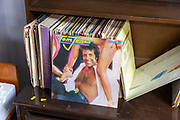 Tom Jones and other old LP records on display in house clearance auction sale room, UK