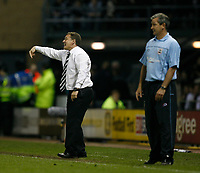 Photo: Steve Bond.<br />Derby County v Southampton. Coca Cola Championship. Play Off Semi Final, 2nd Leg. 15/05/2007. George Burley (R) and Billy Davies (L) can only watch
