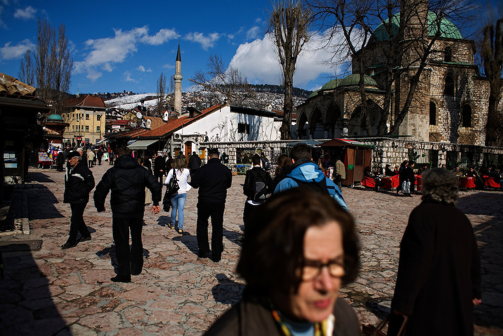 The Bascarsija section of Sarajevo near the Sebilj fountain, a famous destination for tourists and locals. Late winter day in the Ottoman-Turkish quarter.