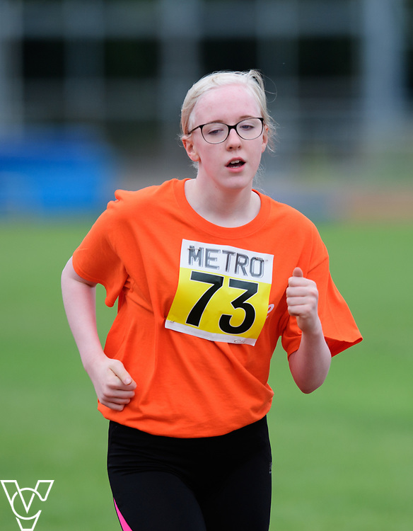 Event: 1500 meters<br /> Competitors, from left: Emma Quigley<br /> <br /> Metro Blind Sport's 42nd Athletics Open, held at Mile End Stadium, Tower Hamlets, London.<br /> <br /> Picture: Chris Vaughan Photography for Metro Blind Sports<br /> Date: June 16, 2018