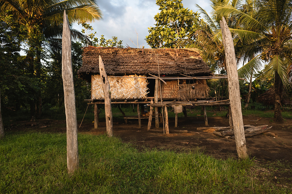 A house in the village of Likan, located beside the Clay River in Papua New Guinea's East Sepik Province<br /><br />(June 20, 2019)