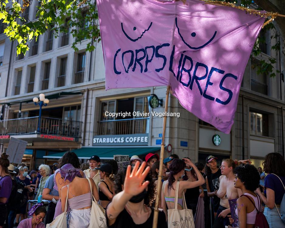 Lausanne, 14 juin 2021. Manifestation jounée de la grève des femmes et le 30ème aniversaire de la première grève de 1991. © Olivier Vogelsang