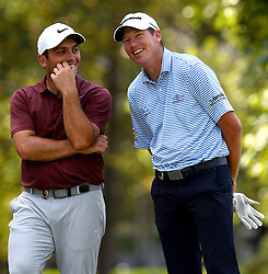 Francesco Molinari, left, and Jim Herman, right, enjoy a laugh together at the 15th tee box during first round action of the PGA Championship at Quail Hollow Club Thursday, Aug. 10, 2017 in Charlotte, N.C. (Photo by Jeff Siner/Charlotte Observer/TNS/Sipa USA)  *** Please Use Credit from Credit Field ***