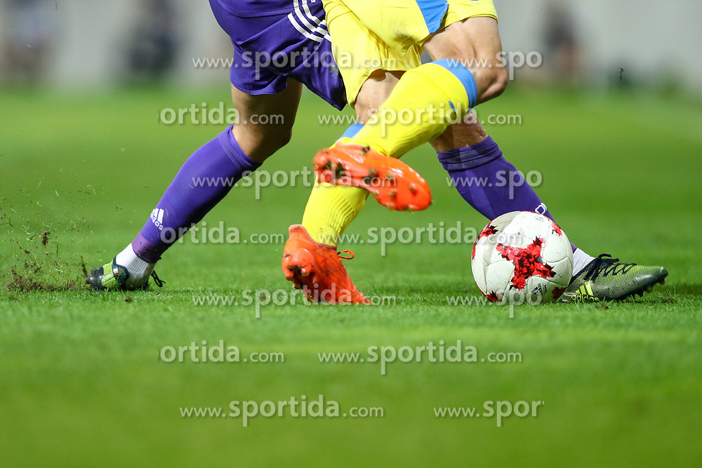 Legs and ball during football match between NK Domzale and Olympique de Marseille in First game of UEFA Europa League playoff round, on August 17, 2017 in SRC Stozice, Ljubljana, Slovenia. Photo by Morgan Kristan / Sportida