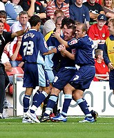 Photo: Dave Linney.<br />Wrexham v Swindon Town. Coca Cola League 2. 09/09/2006Swindon's .Paul Evans(second from right) celebrates after making it 1-0.