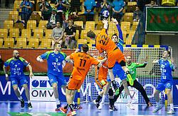 14-04-2019 SLO: Qualification EHF Euro Slovenia - Netherlands, Celje<br /> Jasper Adams of Netherlands vs Borut Mackovsek of Slovenia during handball match between National teams of Slovenia and Netherlands in Qualifications of 2020 Men's EHF EURO