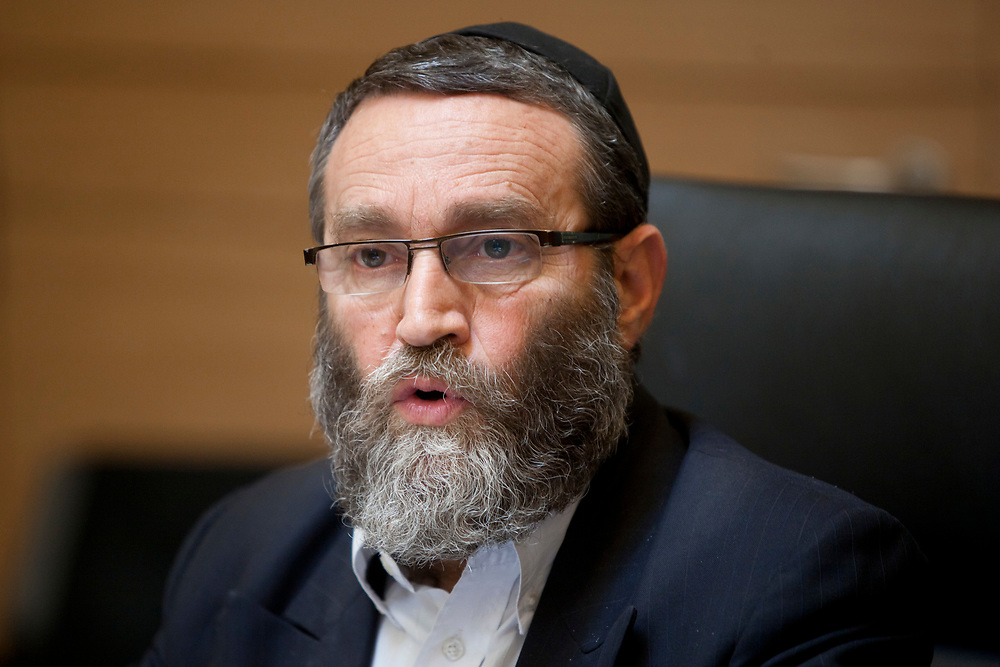 Chairman of the Finance Committee, Knesset member Moshe Gafni of the ultra-Orthodox Jewish party Yahadut HaTorah attends a session of the committee at the Knesset, Israel's parliament in Jerusalem, on May 15, 2012.