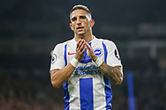 Brighton and Hove Albion midfielder Anthony Knockaert (11) applauds the fans during the Premier League match between Brighton and Hove Albion and West Ham United at the American Express Community Stadium, Brighton and Hove, England on 5 October 2018.
