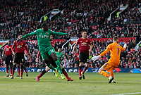 Football - 2018 / 2019 Premier League - Manchester United vs. Watford<br /> <br /> Abdoulaye Doucoure of Watford scores his side's first goal after 90 minutes at Old Trafford<br /> COLORSPORT/ALAN MARTIN