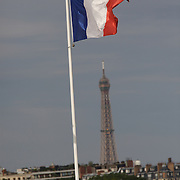 The french flag flies above the stadium at Roland Garros with the Eiffel Tower in the background during the French Open Tennis Tournament Finals session at Roland Garros, Paris, France on Saturday, June 6, 2009. Photo Tim Clayton.