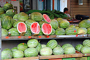 Tel Aviv, Israel, A watermelon stall at the Carmel Market