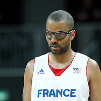 02 August 2012: France Tony Parker rests during 82-74 Team France victory over Team Lithuania, during the men's basketball preliminary, at the Basketball Arena, in London, Great Britain.