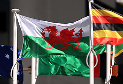 The flag of Wales on a pole at the Commonwealth Games