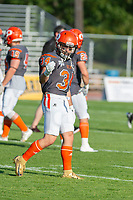 KELOWNA, BC - AUGUST 3:  Jonah Williams #34 of Okanagan Sun stands on the field during warm up against the Kamloops Broncos  at the Apple Bowl on August 3, 2019 in Kelowna, Canada. (Photo by Marissa Baecker/Shoot the Breeze)