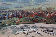 The 360 degree Panorma showing the Battle of Waterloo at the battlefield, on 25th March 2017, at Waterloo, Belgium. Inaugurated on the battles bicentenary, visitors experience the history of Napoleonic Europe and the armies of both the French and allied armies on that day. The Battle of Waterloo was fought 18 June 1815. A French army under Napoleon Bonaparte was defeated by two of the armies of the Seventh Coalition: an Anglo-led Allied army under the command of the Duke of Wellington, and a Prussian army under the command of Gebhard Leberecht von Blücher, resulting in 41,000 casualties.