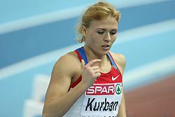 Olga Kurban of Russia at pentathlon run at the 1st day of  European Athletics Indoor Championships Torino 2009 (6th - 8th March), at Oval Lingotto Stadium,  Torino, Italy, on March 6, 2009. (Photo by Vid Ponikvar / Sportida)