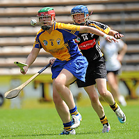 9 July 2011; Kate Lynch, Clare, in action against Michelle Quilty, Kilkenny. All Ireland Senior Camogie Championship in association with RTE Sport, Kilkenny v Clare, Nowlan Park, Kilkenny. Picture credit: Matt Browne / SPORTSFILE *** NO REPRODUCTION FEE ***