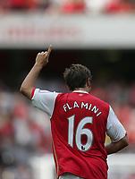 Photo: Lee Earle.<br /> Arsenal v Paris Saint-Germain. The Emirates Cup. 28/07/2007.Arsenal's Mathieu Flamini celebrates scoring their opening goal.