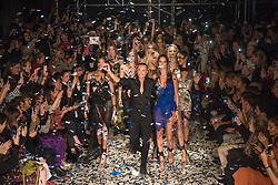 Julien Macdonald joins models on the catwalk during the Julien Macdonald London Fashion Week SS18 show, held at Bankside Vaults, London. Picture date: Monday September 18th, 2017. Photo credit should read: Matt Crossick/ EMPICS Entertainment.