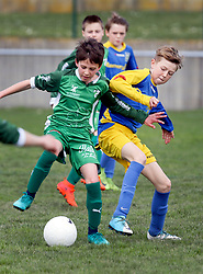 07 April 2018. Blaringhem, Pas de Calais, France.<br /> Phase District Festival U13 Pitch - Festival Foot U13. A tournament of 8 teams.<br /> US Montreuil U13a v Le Touquet.<br /> Montreuil a perdu 0-1.<br /> Photo©; Charlie Varley/varleypix.com