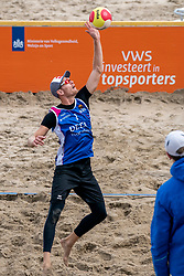 Alexander Brouwer in action. The Final Day of the DELA NK Beach volleyball for men and women will be played in The Hague Beach Stadium on the beach of Scheveningen on 23 July 2020 in Zaandam.