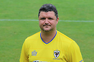 AFC Wimbledon first team coach Simon Bassey at AFC Wimbledon Team Photo 02AUG16 at the Cherry Red Records Stadium, Kingston, England on 2 August 2016. Photo by Stuart Butcher.