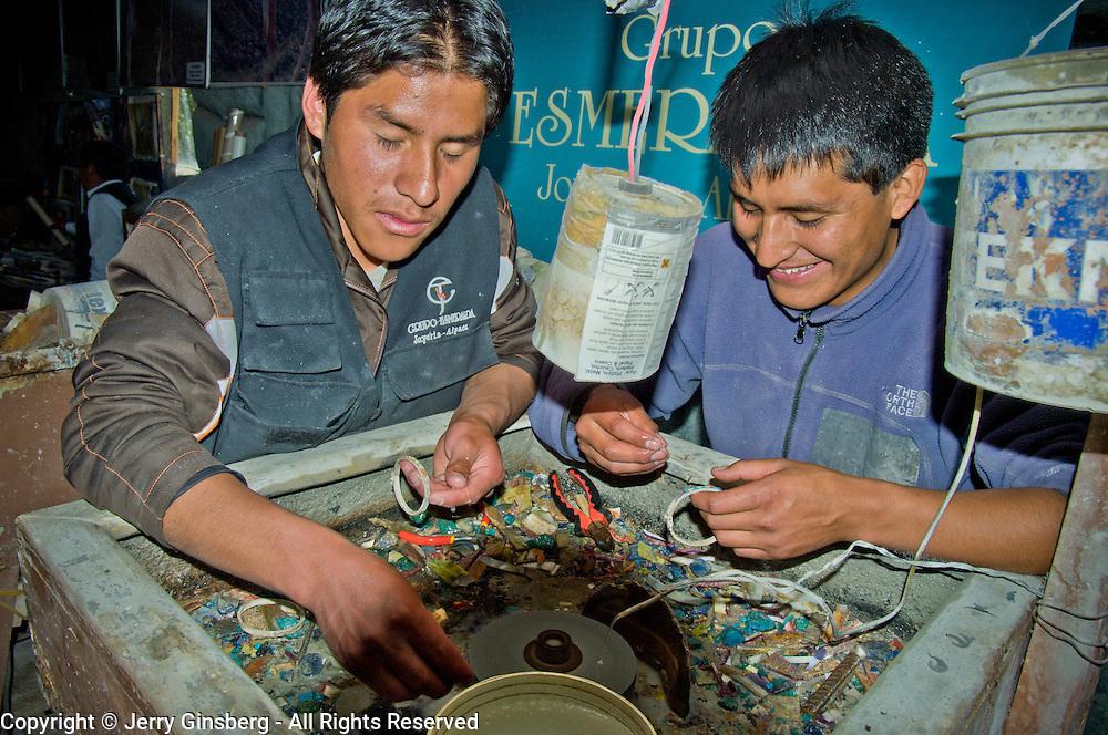 Silversmiths in Cuzco, Peru.