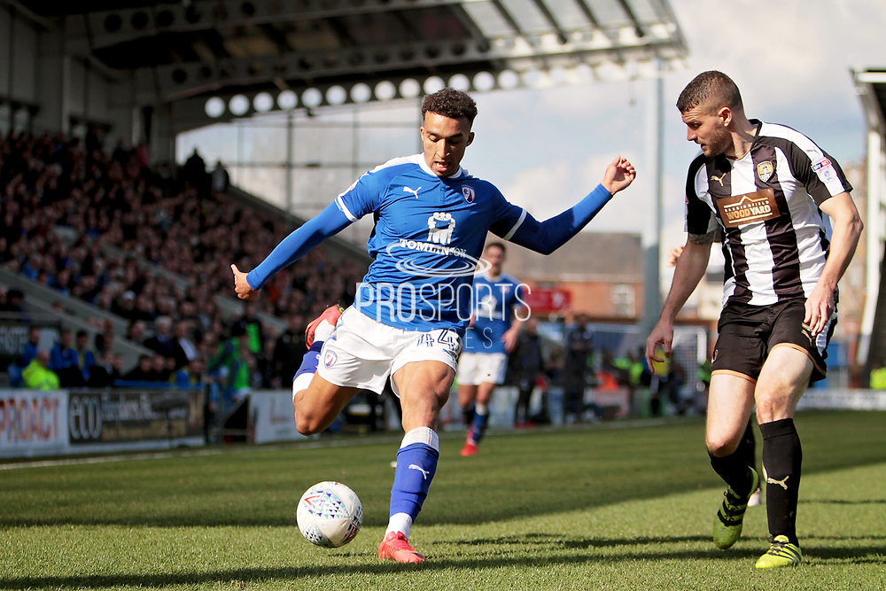 Chesterfield forward Jacob Brown (44)  gets in a cross during the EFL Sky Bet League 2 match between Chesterfield and Notts County at the Proact stadium, Chesterfield, England on 25 March 2018. Picture by Nigel Cole.