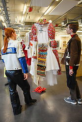 """© Licensed to London News Pictures. 11/05/2017. London, UK. Visitors view a work by Ian Stepanenko at an exhibition called """"Up and Coming"""", in Granary Square King's Cross, featuring works by Central Saint Martins foundation students.   Photo credit : Stephen Chung/LNP"""