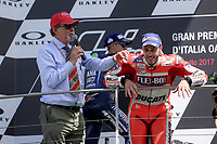 Ducati's Team rider Italian Andrea Dovizioso, winner  the Moto GP Grand Prix at the Mugello race track on June 4, 2017 celebrates on the podium. <br /> MotoGP Italy Grand Prix 2017 at Autodromo del Mugello, Florence, Italy on 4th June 2017. <br /> Photo by Danilo D'Auria.<br /> <br /> Danilo D'Auria/UK Sports Pics Ltd/Alterphotos