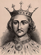 Richard II (1367-1400) king of England from 1377; forced to abdicate in September 1399 in favour of Henry Bolingbroke (Henry IV). Died, probably murdered, in Pontefract Castle early in 1400.  A member of the Plantagenet dynasty.  Wood engraving c1900.