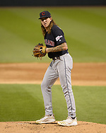 CHICAGO - SEPTEMBER 24:  Mike Clevinger #52 of the Cleveland Indians pitches against the Chicago White Sox on September 24, 2019 at Guaranteed Rate Field in Chicago, Illinois.  (Photo by Ron Vesely)  Subject:   Mike Clevinger