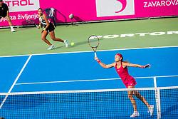 PORTOROZ, SLOVENIA - SEPTEMBER 18: Aleksandra Krunic and Lesley Pattinama Kerkhove during the double finals of WTA 250 Zavarovalnica Sava Portoroz at SRC Marina, on September 19, 2021 in Portoroz / Portorose, Slovenia. Photo by Nik Moder / Sportida