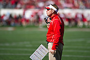 Oct 27, 2012; Little Rock, AR, USA; Ole Miss Rebels head coach Hugh Freeze reacts to a call during a game against the Arkansas Razorbacks at War Memorial Stadium. Ole Miss defeated Arkansas 30-27. Mandatory Credit: Beth Hall-US PRESSWIRE